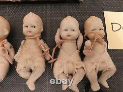 Bisque Porcelain Jointed Quintuplet Dolls Made in Japan Original Box