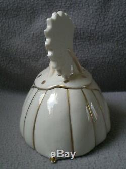 Boite en porcelaine art deco 1930 sculpture femme éventail vintage box half doll