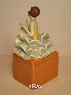 Boite en porcelaine art deco FASOLD vintage trinquet box half doll lady figurine