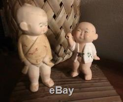 Boy Dolls Figurines Porcelain Bisque Gumps Hakata 5 & 6.5 Vintage 2 Japanese