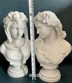 Bust Figures Ladies Sevres Porcelain Antique Half Dolls Biscuit