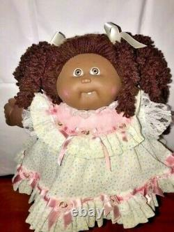 Cabbage Patch Kids AFRICAN AMERICAN Popcorn HAIR-RARE PORCELAIN CPK DRESS