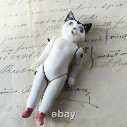 Cat Doll Antique German Hertwig Porcelain-Thüringen Black Ears Green Eyes 3.75