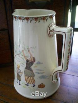 Child's antique French Sarreguemines Kate Greenaway Enfants Richard washstand