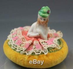 Collection 7 Porcelain Vintage Pin Cushion Half Dolls German & Japan