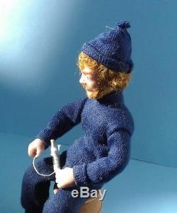 Dollhouse Miniature Vintage Hand Sculpted Fisherman Doll Signed & Dated 112