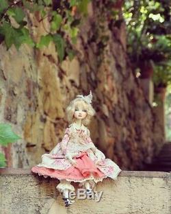 Dominique. Handmade doll, Boudoir Collectible Art Doll, Vintage style, OOAK