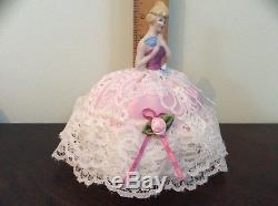 Elegant Vintage German Porcelain Half Doll Pincushion Blue Fan