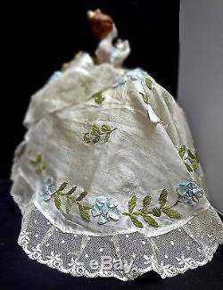 Exquisite Vintage Porcelain Half Doll With Antique Victorian Ribbon Work Gown LG