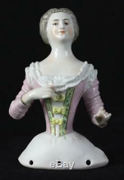 Exquisite antique 4.7 Volkstedt Porcelain German character half doll 19th C