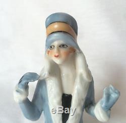 Flapper Lady Pin Cushion Half Doll Porcelain Germany Fasold Style Vtg Japan