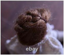 French Antique Bisque Porcelain Doll 6'' Real Hair Ancient Victorian Old Antique