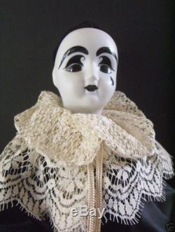 French Clown Doll with tear- Perot -Porcelain-Vintage Beautiful #147