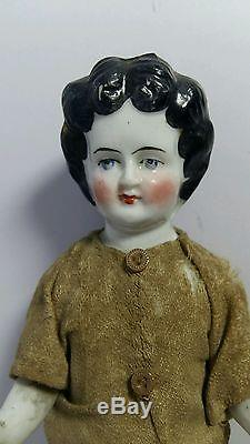 Frozen Doll Charlotte Porcelain vintage victorian Doll Tall 7 1/2 Germany 1880