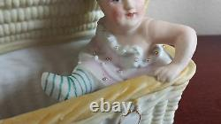 Gebruder Heubach Bisque porcelain Piano Baby doll Figurine Antique unmarked