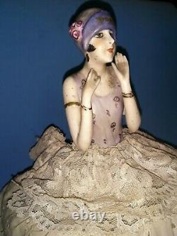 German Porcelain Half Doll Box Fasold Stauch Flapper Glamorous Original Dress