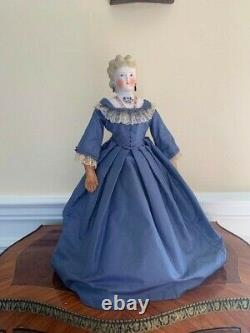 Gorgeous Antique Parian Lady with Elaborate Blonde Curls and Molded Blouse-1860