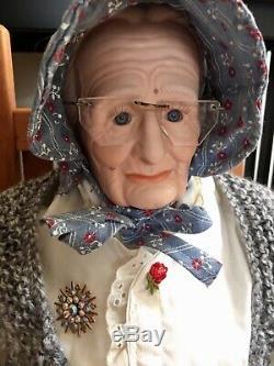 Grandma And Grandpa Porcelain Dolls with Rockers Artist Marilyn Wilson Vtg