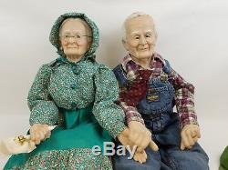 Grandpa Grandma Porcelain Dolls Oshkosh Overalls John Deere Hat Vintage Rare