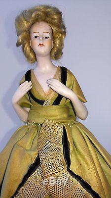 Great, large, vintage HALF DOLL, flapper girl on old wired dress form base, 14 H
