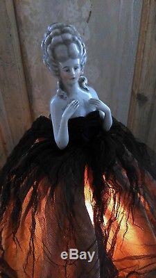 Great, large, vintage HALF DOLL lamp, flapper girl, old wired dress form base, 15.5