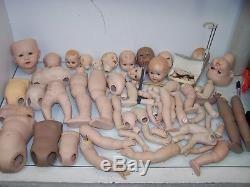 Huge Lot of 100+ Ceramic Doll Parts Heads, Arms, Bodies, Hands vintage 1980s