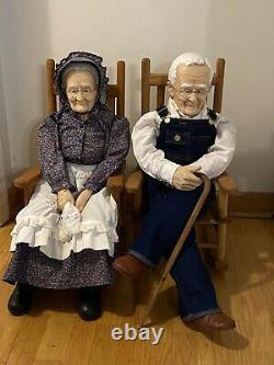 INCREDIBLE Vintage William Wallace Jr Grandma & Grandpa Porcelain Dolls-32/36