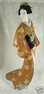 Japanese Porcelain Hakata Mimasu Geisha Doll Kimono Leaves 13x7x7 inches Vintage