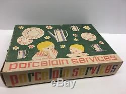 LA2/ Vintage Doll Mum Doll Coffee Tea Service Dinnerware Porcelain Set Antique