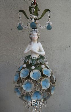 Lady DOLL FRENCH Hydrangea shade dress SWAG lamp vintage Porcelain Brass crystal