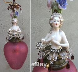 Lady DOLL FRENCH Rose shade dress SWAG lamp vintage Porcelain Brass Deco crystal