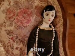 Large 21 Vtg Art Deco Porcelain Bisque & Cloth 20's Flapper Girl Doll Figurine