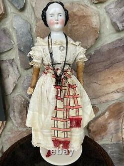 Large Antique 1860s Kestner Porcelain China Head On Original Body & Clothes