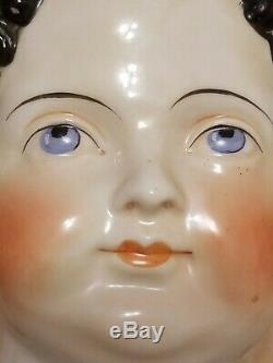 Large Antique Victorian Porcelain Doll's Head with Black Hair 8 x 5