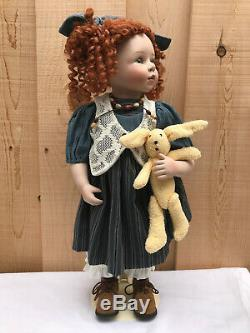 Large Doll Porcelain Vintage Kingstate Dollcrafter Lola Bisque Rare With Stand