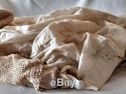 Large Head 20 Antique German Bisque Porcelain Baby Doll China Clothing VTG