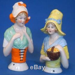Large Vintage German Pin Cushion Porcelain Half Doll Pair Pincushion