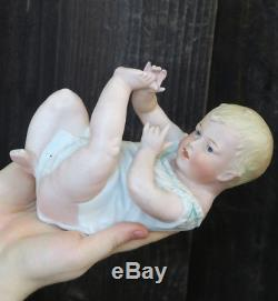 Lg Gebruder Heubach Bisque porcelain Piano Baby doll Figurine Antique Vintage mr