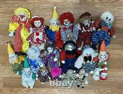 Lot Of Vintage Clown Doll Porcelain Head with Painted Face and Bean Bag Body