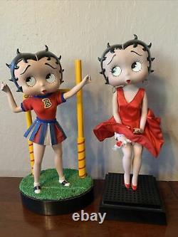 Lot of 2 Vintage Danbury Mint Betty Boop Porcelain Doll Figurines, Cheerleader