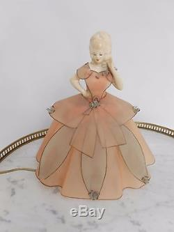 Mid Century Vintage Figural Half Doll Table Lamp Porcelain 1940s/1950s Celuloid