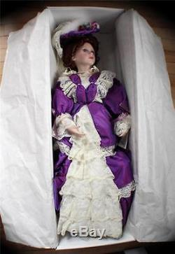 NIB Vintage COURT of DOLLS Porcelain Edition 29 Tall VANESSA Doll Purple Dress