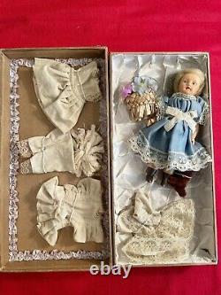 NIB Vintage French Boudoir Porcelain A La Samaritaine Paris Doll With Clothing