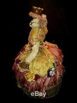 Nice Vintage Ceramic figurine Cat doll in Victorian hand designed dress 17.5