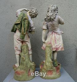 Pair Peasant Porcelain amphora Victorian Figurine Antique Vintage Austrian Dolls