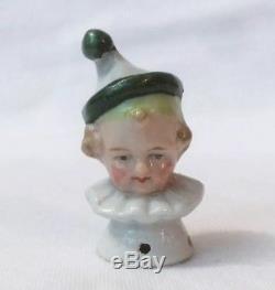 Pierrette Pierrot Pin Cushion Half Doll Lady Porcelain Germany Figurine Vtg