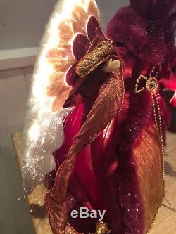 Porcelain Doll Light Up Christmas Angel Tree Topper Electric Red Vintage Style
