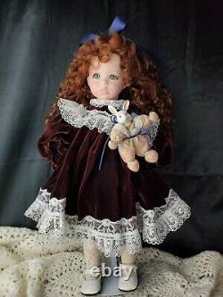 Porcelain doll Hillary Dianna Effner 18 inch brown hair green eyes velvet dress