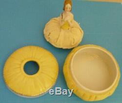 Powder Jar Box Vintage 1/2 Half Doll Lady Vanity Sunshine Yellow Porcelain