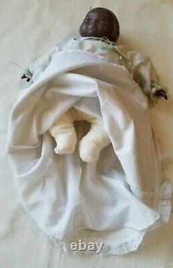 RARE Antique 1923 Grace S. Putnam black Bisque Porcelain Baby Doll 14 Marked